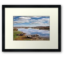 two beached fishing boats on Donegal beach Framed Print