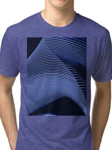 Blue waves, line art, curves, abstract pattern Tri-blend T-Shirt