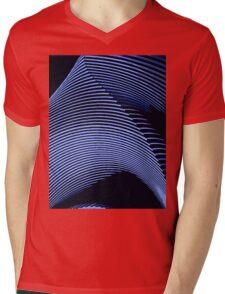Blue waves, line art, curves, abstract pattern Mens V-Neck T-Shirt