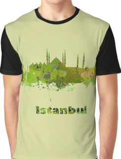 Istanbul Watercolor Skyline  green Graphic T-Shirt