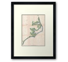 Vintage Map of The North Carolina Coast (1875) Framed Print
