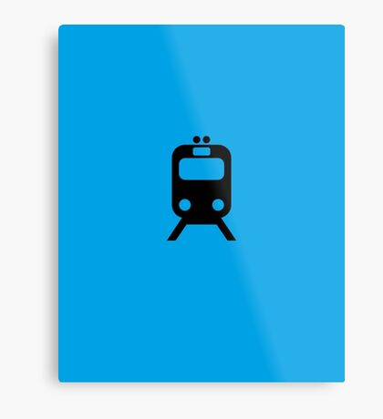 Blue Line CTA Inspired Chicago Elevated Train Pattern Metal Print