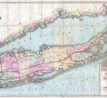Vintage Map of Long Island (1880)  by BravuraMedia