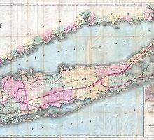 Vintage Map of Long Island (1880)  by BravuraMedia