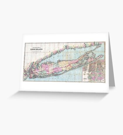 Vintage Map of Long Island (1880)  Greeting Card
