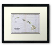 Vintage Map of Hawaii (1883) Framed Print