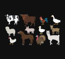 Farm Animals - The Kids' Picture Show - Pixel Art Kids Tee