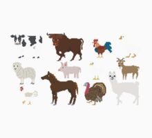 Farm Animals - The Kids' Picture Show - Pixel Art One Piece - Short Sleeve