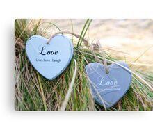 two love hearts on grassy dunes Canvas Print