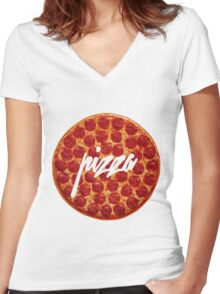 Pizza hype Women's Fitted V-Neck T-Shirt