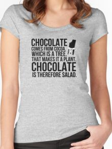 Chocolate comes from cocoa which is a tree. That makes is a plant. Chocolate is therefore salad. Women's Fitted Scoop T-Shirt