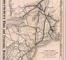 Vintage Boston and Montreal Railroad Map (1887) by BravuraMedia