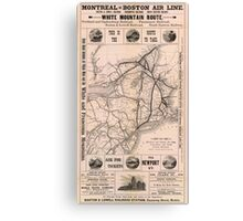 Vintage Boston and Montreal Railroad Map (1887) Canvas Print
