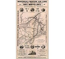 Vintage Boston and Montreal Railroad Map (1887) Photographic Print