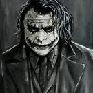 The Joker, Black and white portrait painting by Jeanette  Treacy