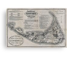 Vintage Map of Nantucket Canvas Print