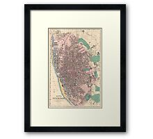 Vintage Map of Liverpool England (1890) Framed Print