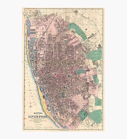 Vintage Map of Liverpool England (1890) Photographic Print