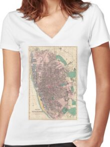Vintage Map of Liverpool England (1890) Women's Fitted V-Neck T-Shirt