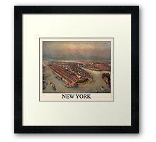 New York Historic Birds Eye Map Framed Print