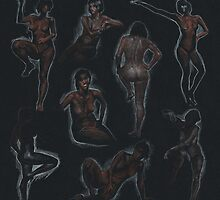 nude sketches / black by v0ff