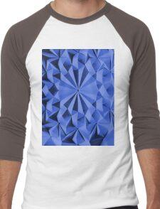 Blue fractals pattern, geometric theme Men's Baseball ¾ T-Shirt