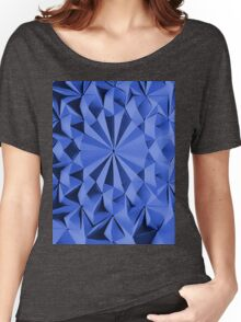 Blue fractals pattern, geometric theme Women's Relaxed Fit T-Shirt