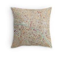Vintage Map of Paris (1892) Throw Pillow
