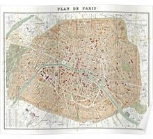 Vintage Map of Paris (1892) Poster