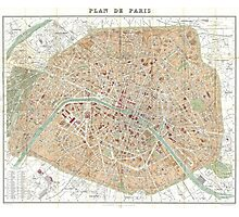 Vintage Map of Paris (1892) Photographic Print