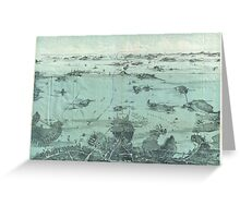 Vintage Pictorial Map of Boston Harbor (1897) Greeting Card