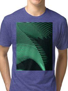 Green waves, line art, curves, abstract pattern Tri-blend T-Shirt