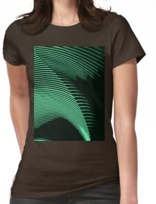 Green waves, line art, curves, abstract pattern Womens Fitted T-Shirt