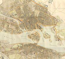 Vintage Map of Stockholm (1899) by BravuraMedia