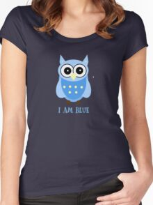 Cute Owl Sweet Nice Girl Girlfirend Woman Puffy Toy  Blue Animal Design Cartoon Gift T-Shirts Women's Fitted Scoop T-Shirt