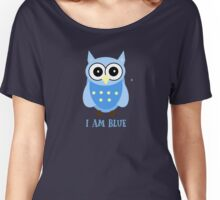 Cute Owl Sweet Nice Girl Girlfirend Woman Puffy Toy  Blue Animal Design Cartoon Gift T-Shirts Women's Relaxed Fit T-Shirt