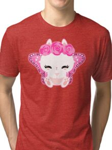 Cute little bunny with a butterfly wings and roses Tri-blend T-Shirt