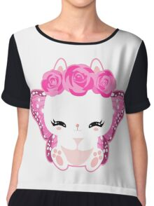 Cute little bunny with a butterfly wings and roses Chiffon Top