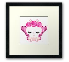 Cute little bunny with a butterfly wings and roses Framed Print