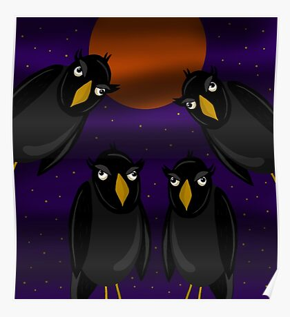 Halloween - Black ravens and bloody moon Poster