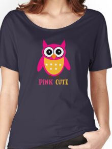 Cute Owl Sweet Nice Girl Girlfirend Woman Pink Puffy Toy Animal Design Cartoon Gift T-Shirts Women's Relaxed Fit T-Shirt