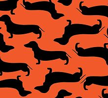 Dachund Sillhouette Orange by WaggSwagg