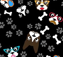Boston Terrier Funny Faces Black by WaggSwagg