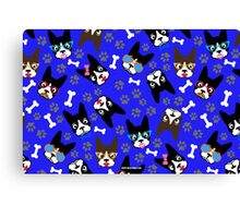 Boston Terrier Funny Faces Blue Canvas Print