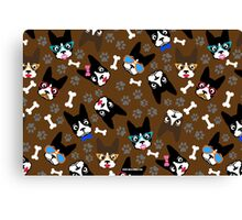 Boston Terrier Funny Faces Brown Canvas Print