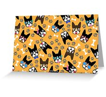 Boston Terrier Funny Faces Gold Greeting Card