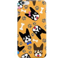 Boston Terrier Funny Faces Gold iPhone Case/Skin
