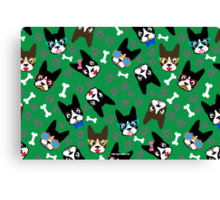 Boston Terrier Funny Faces Green Canvas Print