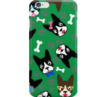 Boston Terrier Funny Faces Green iPhone Case/Skin