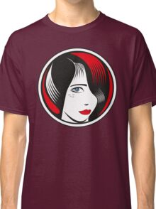 Red and Black circle girl portrait Classic T-Shirt